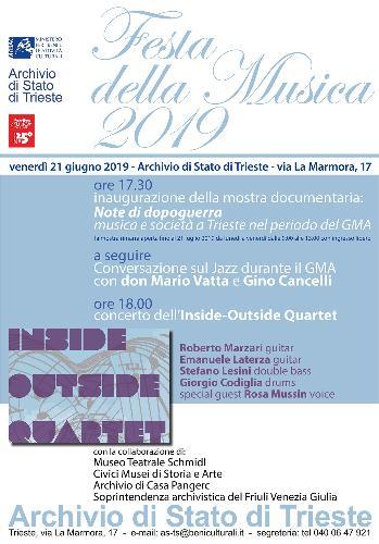 """Concerto jazz Inside Outside Quartet. Mostra """"Note di dopoguerra. Musica e società a Trieste nel periodo del GMA"""""""