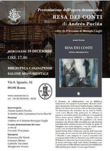 """Presentazione dell'opera drammatica """"La resa dei conti"""" di Andrés Pociña"""