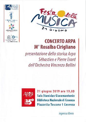 Festa della musica 21 giugno Concerto arpa M° Rosalba Cirigliano Presentazione della storica arpa Sébastien e Pierre Erard dell'Orchestra Vincenzo Bellini