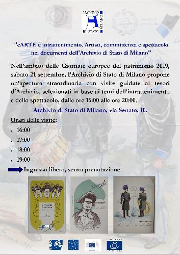 """""""cARTE e intrattenimento. Artisti, committenza e spettacolo nei documenti dell'Archivio di Stato di Milano"""""""
