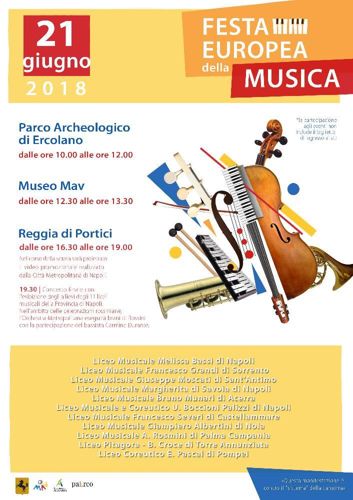 Il Parco archeologico di Ercolano, il Museo archeologico virtuale e la  Reggia borbonica di Portici ospiteranno giovedì 21 giugno la Festa  europea della Musica.