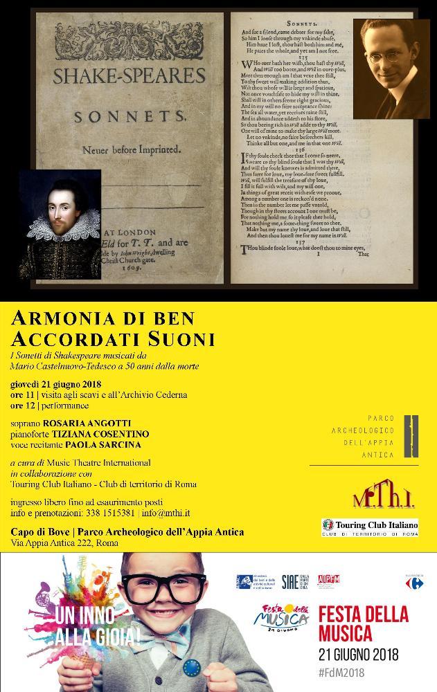 Armonia di ben accordati suoni.  I Sonetti di Shakespeare musicati da Mario Castelnuovo-Tedesco a 50 anni dalla morte